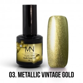 Gel Polish Metallic no.03. - Metallic Vintage Gold 12ml